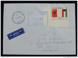 2014 ALBANIA Cover Sent From *KUKES* ALBANIA With Arrival Postmark ZYM (ZJUM) Kosovo, RARE STAMP - Albanië