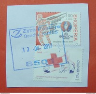 2017 ALBANIAN STAMPS EURO FOOTBALL 2016 FRANCE, 150 YEARS OF RED CROSS Postmark KUKES ON PIECE OF ENVELOPE. - Albania