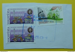 2016 ALBANIAN STAMPS EUROPA THINK GREEN, ANNIVERSARY OF FIRST LOCOMOTIVE, POSTMARK KUKES.. ON PIECE OF ENVELOPE. - Albania