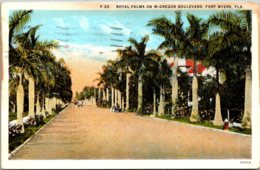 Florida Fort Myers Royal Palms On McGregor Boulevard 1935 Curteich - Fort Myers