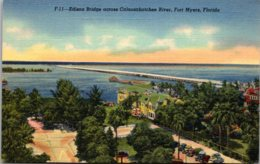 Florida Fort Myers Edison Bridge Across Caloosahatchee River Curteich - Fort Myers