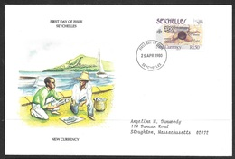 1980 Seychelles First Day Cover - 25 Rupees Bank Note - Seychelles (1976-...)