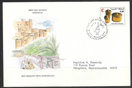1979 Morocco First Day Cover – Red Crescent, Pots - Morocco (1956-...)