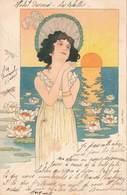 Illustration Illustrateur Art Nouveau Femme Coucher De Soleil Nenuphar Cpa Cachet 1901 - Illustrateurs & Photographes