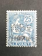 COLONIE LEVANT N°17 1pi S 25c Bleu 1902-20  WBV 10-5 Indice 8 Perforé Perforés Perfins Perfin RARE !! - Non Classés