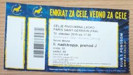 Handball Ticket Celje Pivovarna Lasko (Slovenia)  : Paris Saint Germain PSG France  18.10.2015 Champions League EHF - Tickets D'entrée
