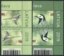 "LETONIA /LATVIA /LETTLAND /LETTONIE -EUROPA 2019 -NATIONAL BIRDS.-""AVES - BIRDS -VÖGEL -OISEAUX""- PAR INVERTIDO BAR CODE - 2019"