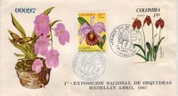 Lote 1103-40F, Colombia, 1967, SPD-FDC, 1a Exposicion Nacional De Orquideas, Orchid, Butterfly - Colombia