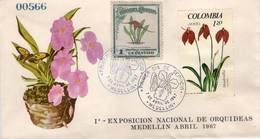 Lote 595-1140F, Colombia, 1967, SPD-FDC, 1a Exposicion Nacional De Orquideas, Orchid, Butterfly - Colombia