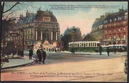 CPA-FRANCE-Paris -La Place Et La Fontaine St-Michel-a Gauche La Station Du Metro-- Belles Couleurs - Nahverkehr, Oberirdisch