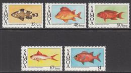 1986 Samoa Fish Poisson  Complete Set Of 5 MNH - Samoa