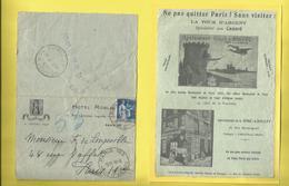 Enveloppe Ou Lettre Publicitaire Commerciale De L'HÔTEL ROBLIN à PARIS Un Pneumatique Du 19 06 1935 Au Dos TOUR D'ARGENT - Poststempel (Briefe)