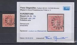 Bayern Quadratausgabe 18Kr. Rot Mi.-Nr. 13a Mit OMR 356 Gepr. KB Stegmüller BPP  - Bavière