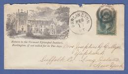 USA Brief Aus Burlington Nach New York,  Vermont Episcopal Institute Ca. 1880 - Vereinigte Staaten