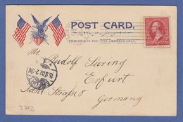 USA 1902 Postkarte Empire Building New York Gelaufen Nach Erfurt - United States
