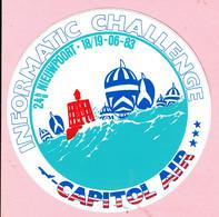 Sticker - INFORMATIC CHALLENGE - 24 H/u NIEUWPOORT 1983 - CAPITOL AIR - Autocollants