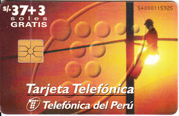 PERU - Tecnico Trabajando/D.D.I.(matt Surface), Telefonica Telecard, Chip GEM1.1, Used - Peru