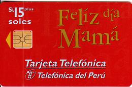 PERU - Feliz Día Mama, Telefonica Telecard, Chip GEM1.1, Tirage 20000, 05/98, Used - Peru