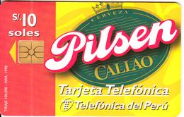 PERU - Pilsen Beer, Telefonica Telecard, Chip GEM1.1, 03/98, Used - Peru