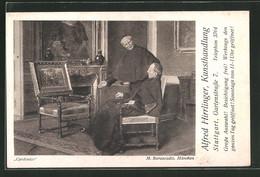Vertreterkarte Stuttgart, Kunsthandlung Alfred Hirrlinger, Gartenstrasse 7, Cardinäle - Alte Papiere