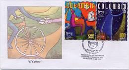 Lote 2089-9F, Colombia, 1997, SPD - FDC, America Upaep, El Cartero, Postman, Bicycle, Motorcycle - Colombia