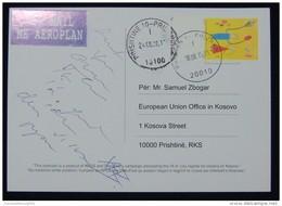2015, KOSOVO AIRMAIL POSTCARD FROM *PRIZREN* KOSOVO TO PRISTINA, RARE, DOKUFEST, LOCAL ISSUE - Kosovo