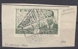 ESPAGNE- 1940 - Posta Aerea Yvert 222 Su Frammento Di Busta; Esemplare Con Riquadro Interrotto Come Da Immagine. - Usati