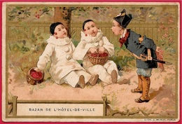 """En L'état Petit Calendrier Publicitaire 1896 """"BAZAR De L' HÔTEL-de-VILLE"""" Litho Minot * Pierrot Gendarme - Kalenders"""