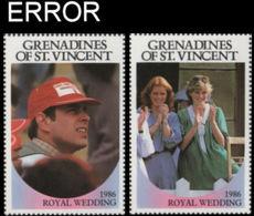 ST.VINCENT GRENADINES 1986 Ferguson Wedding 60c SET:2 ERROR:no Value - St.Vincent & Grenadines