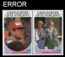ST.VINCENT GRENADINES 1986 Ferguson Wedding 60c Se-tenant PAIR ERROR:no Value - St.Vincent & Grenadines