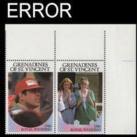 ST.VINCENT GRENADINES 1986 Ferguson Wedding 60c CORNER Se-tenant PAIR ERROR:no Value - St.Vincent & Grenadines