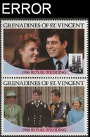 ST.VINCENT GRENADINES 1986 Ferguson Wedding $2 Se-tenant PAIR ERROR:no Value - St.Vincent & Grenadines