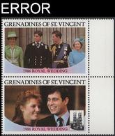 ST.VINCENT GRENADINES 1986 Ferguson Wedding $2 Se-tenant MARG.PAIR ERROR:no Value - St.Vincent & Grenadines