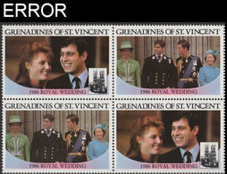 ST.VINCENT GRENADINES 1986 Ferguson Wedding $2 Se-tenant 4-BLOCK ERROR:no Value - St.-Vincent En De Grenadines