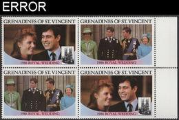 ST.VINCENT GRENADINES 1986 Ferguson Wedding $2 MARGIN Se-tenant 4-BLOCK ERROR:no Value - St.Vincent & Grenadines
