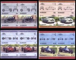 ST.VINCENT 1985 Vintage Cars Automobiles Issue:IV IMPERF Se-te. 4-BLOCKS:4 (16 Stamps) - St.Vincent (1979-...)