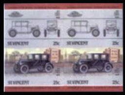 ST.VINCENT 1985 Essex Coach Cars Issue:IV 25c IMPERF. Se-te. 4-BLOCK USA-related - St.Vincent (1979-...)