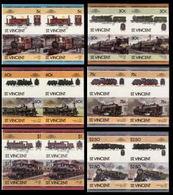 ST.VINCENT 1985 Trains Issue:V IMPERF Se-tenant 4-BLOCKS:6 (24 Stamps) - St.Vincent (1979-...)