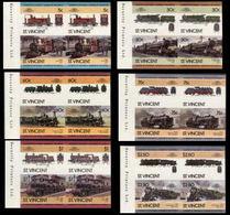 ST.VINCENT 1985 Trains Issue:V MARG.IMPERF Se-tenant 4-BLOCKS:6 (24 Stamps) - St.Vincent (1979-...)