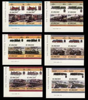 ST.VINCENT 1985 Trains Issue:V CORNER.IMPERF Se-te. 4-BLOCKS:6 (24 Stamps) - St.Vincent (1979-...)