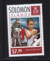 Solomon 2014 Red Cross Child Man Dog Chien MNH 1V - Solomon Islands (1978-...)