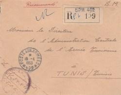 LETTRE FM REC BPM 402 - COMMANDANT SP 54418 - POUR DIRECTEUR L A.C.A.T - TUNIS 18/4/53 - Marcophilie (Lettres)