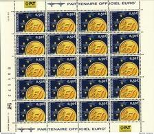Luxembourg Feuille De 20 Timbres à 0,50 Euro Pièces De Monnaie Euro 2001 - Full Sheets