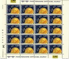 Luxembourg Feuille De 20 Timbres à 0,20 Euro Pièces De Monnaie Euro 2001 - Full Sheets