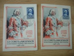 Lot De 2  Cm De 1957 Pontarlier Grenoble Comte Argenson Carte Maximum - Cartes-Maximum