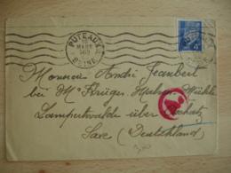 1944 Lettre Pour Travailleur Allemagne Censure Timbre Petain 4 F Bleu - Postmark Collection (Covers)