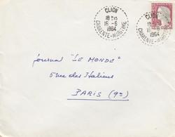 LETTRE . RECETTE DISTRIBUTION. CLION CHARENTE MARITIME 1964 POUR PARIS - 1961-....