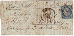 BALLON MONTE N° 37 Obl Etoile 6 PARIS SENAT 28 Oct 1870 Arrivee LOUVIERS Eure Le 4 Novembre , Texte - Marcophilie (Lettres)