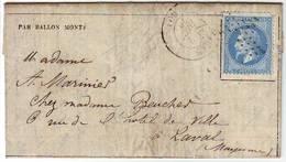 BALLON MONTE , GAZETTE N° 12 , N° 29 Obl Etoile PARIS (60) 2 Dec 1870 Arrivee LAVAL Mayenne Le 7 Decembre , Texte - Marcophilie (Lettres)