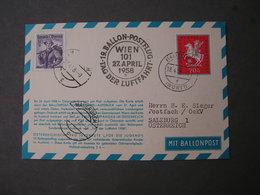 Wien  SST    Ballonfahrt 1958 - Ballonpost